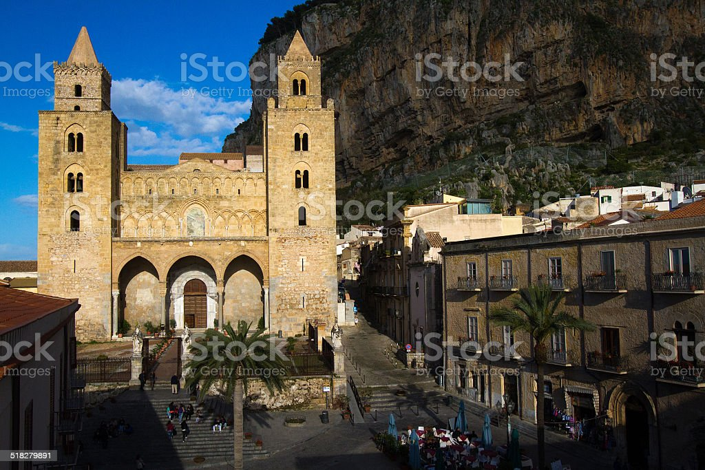 Cathedral at Cefalu, Sicily stock photo