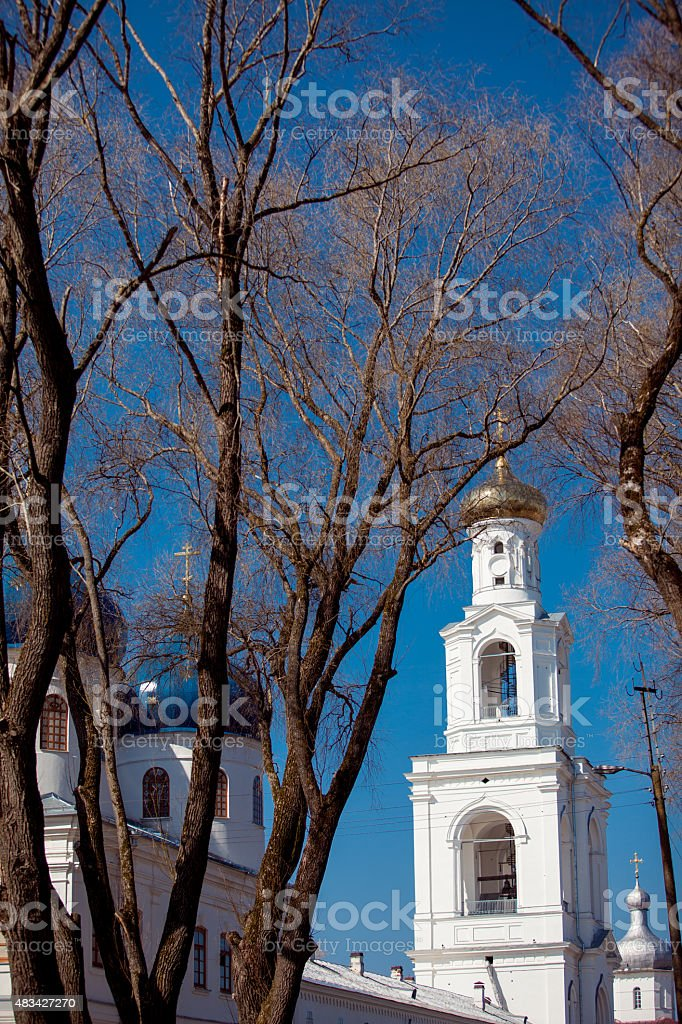 Cathedral at  monastery, Novgorod the Great, Russia stock photo