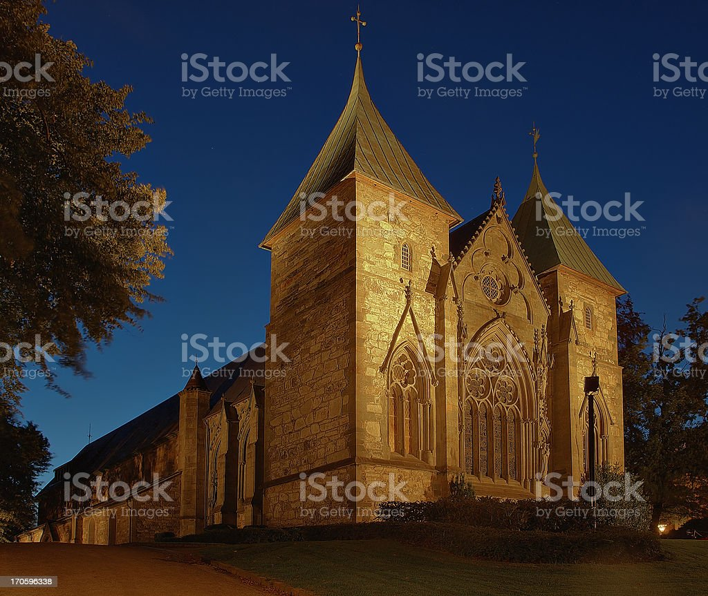 Cathedral at night in Stavanger, Norway. royalty-free stock photo