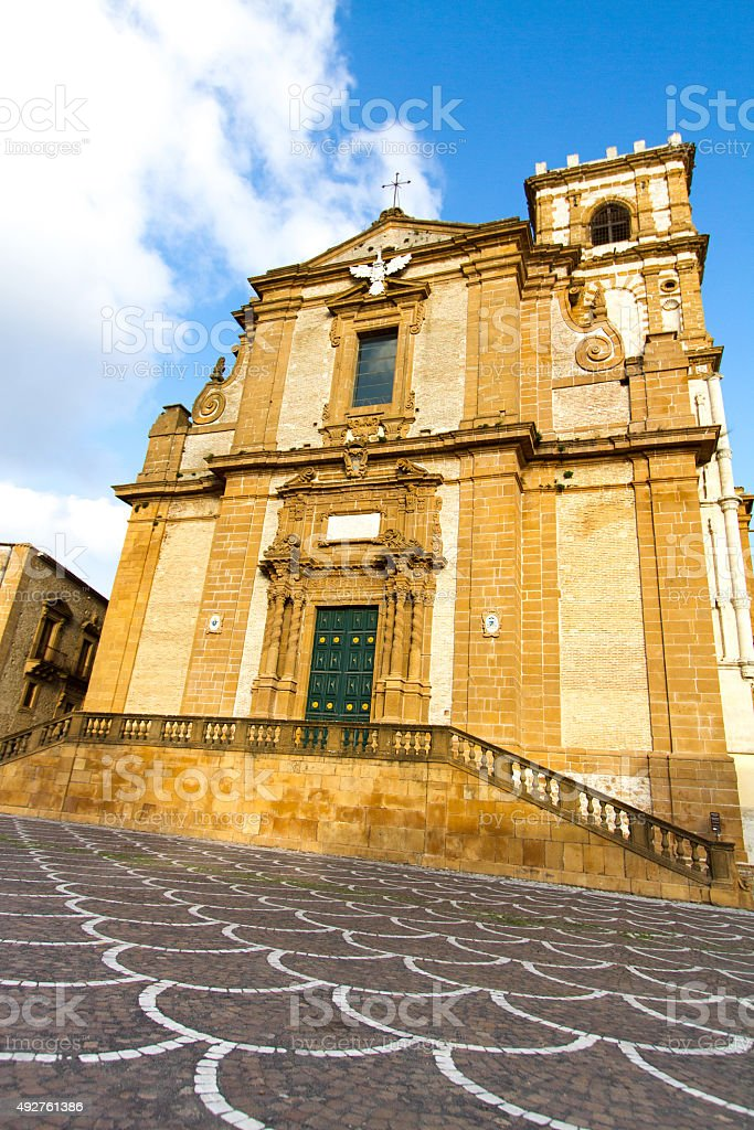 Cathedral at Piazza Armerina, Sicily at Golden Hour (Front View) stock photo