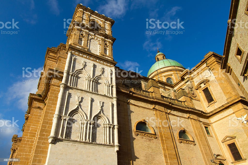 Cathedral at Piazza Armerina, Sicily at Golden Hour (Side View) stock photo