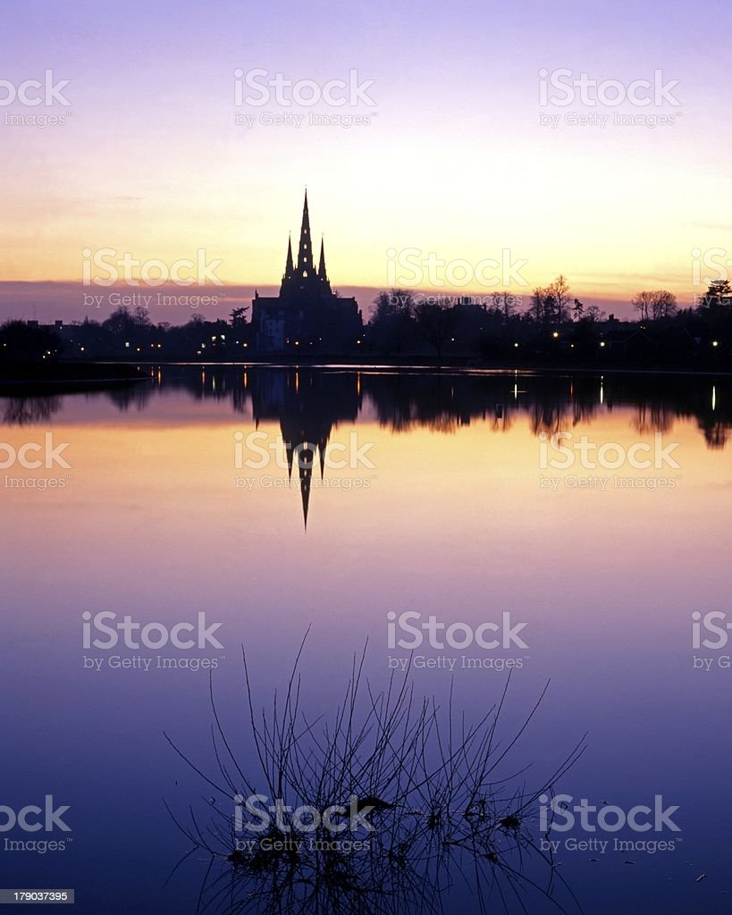 Cathedral at sunset, Lichfield, England. royalty-free stock photo
