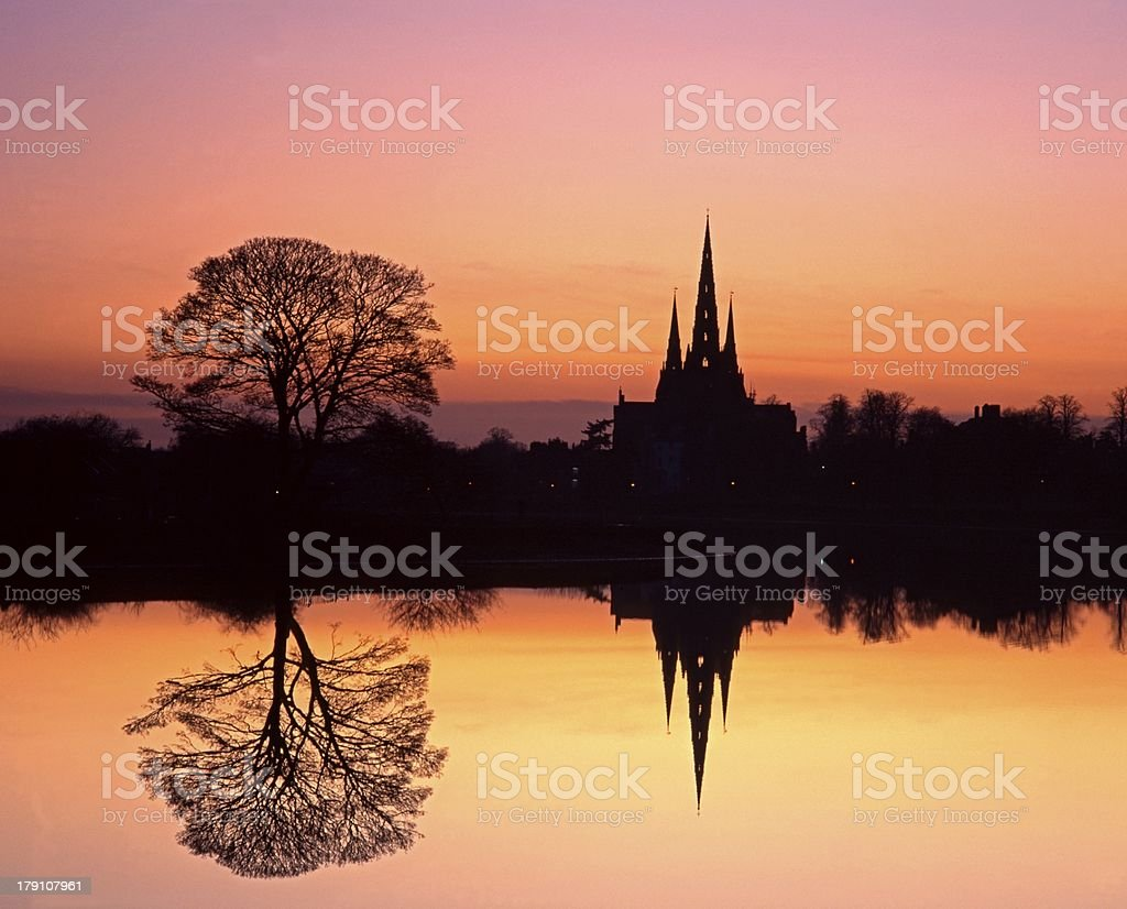 Cathedral at sunset, Lichfield, England. stock photo