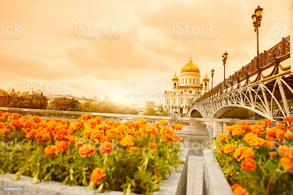 Cathedral at sunset, Moscow. stock photo