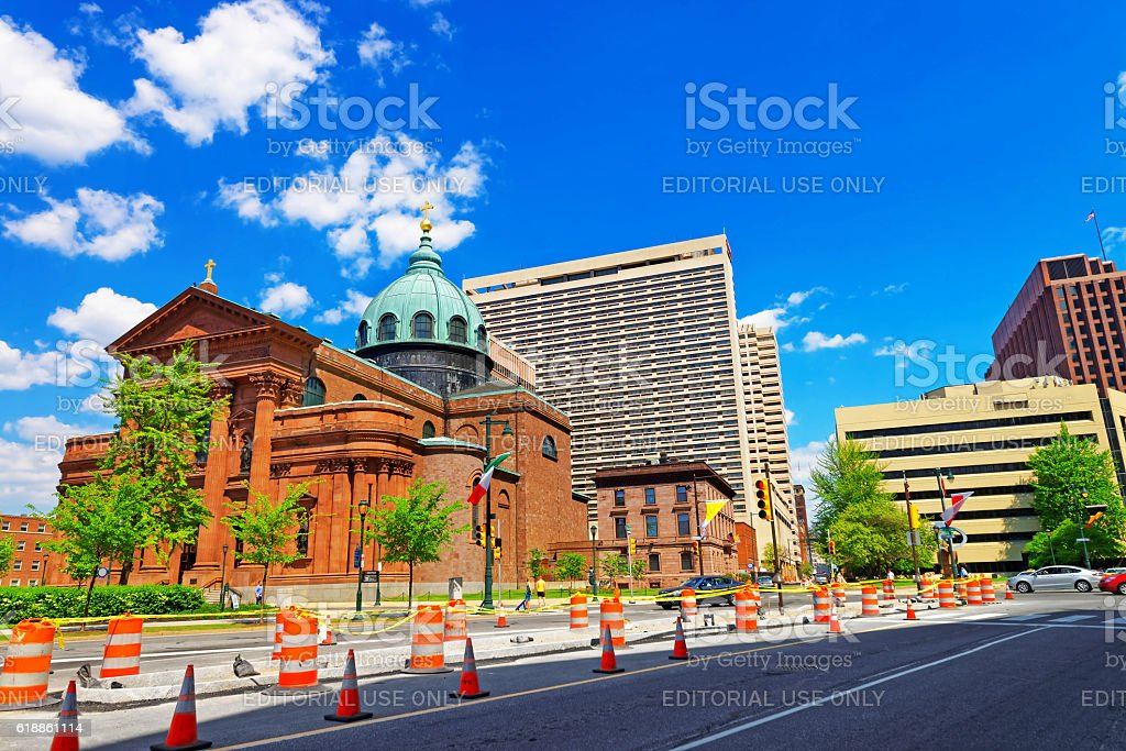 Cathedral Basilica of Saints Peter and Paul in Philadelphia PA stock photo