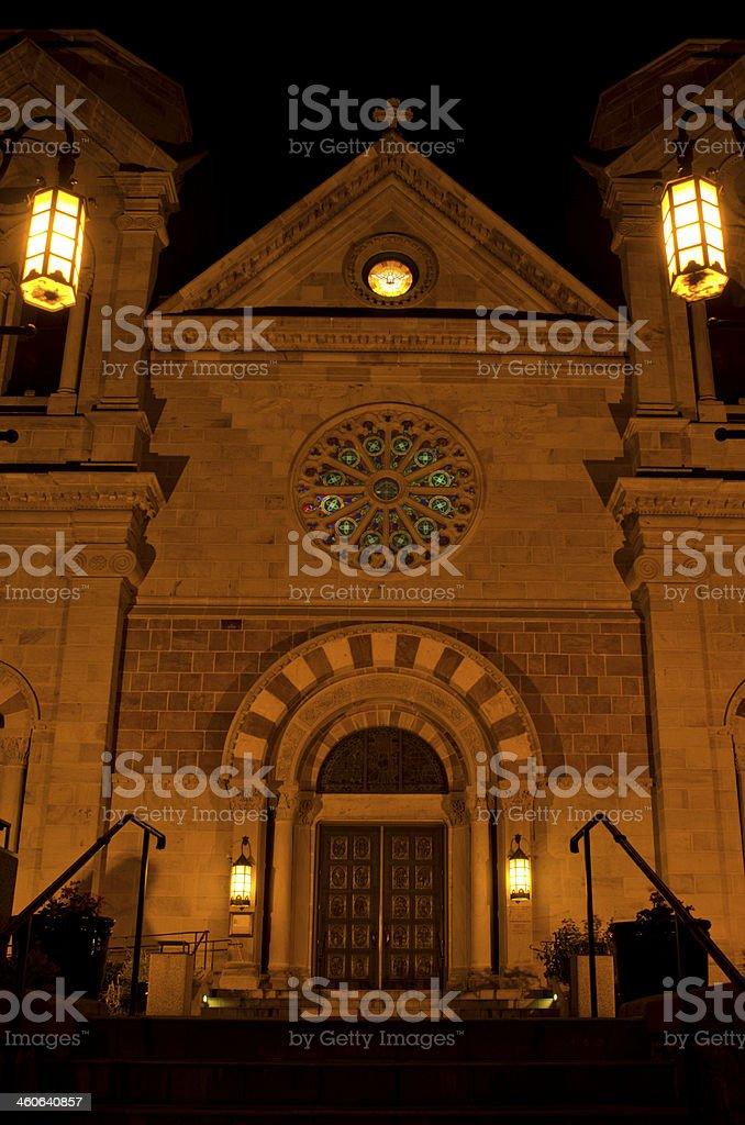 Cathedral Basilica of St Francis at Night stock photo