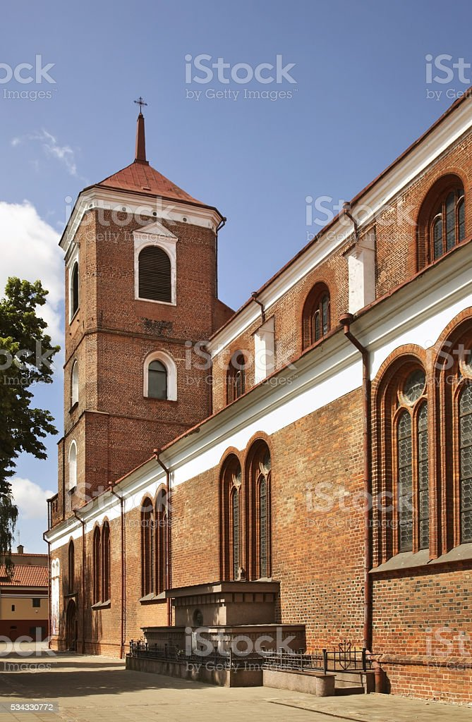 Cathedral Basilica of St. Peter and St. Paul in Kaunas. Lithuania stock photo