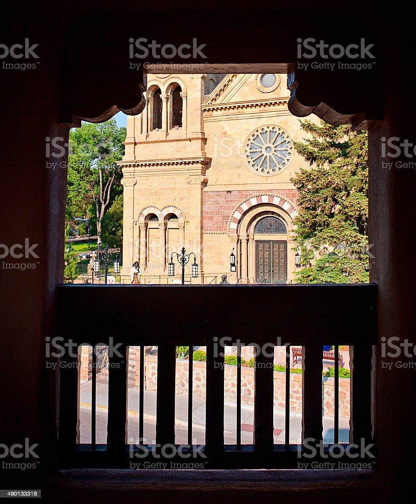 Cathedral Basilica Saint Francis of Assisi in Santa Fe stock photo