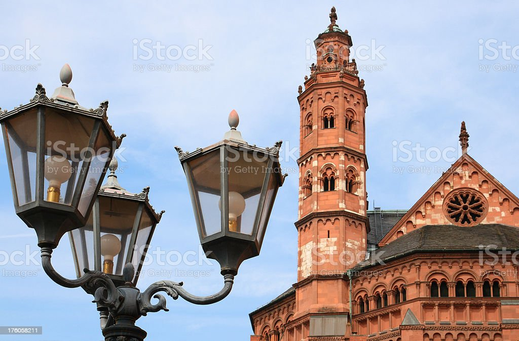 Cathedral behind old Street Lamps stock photo