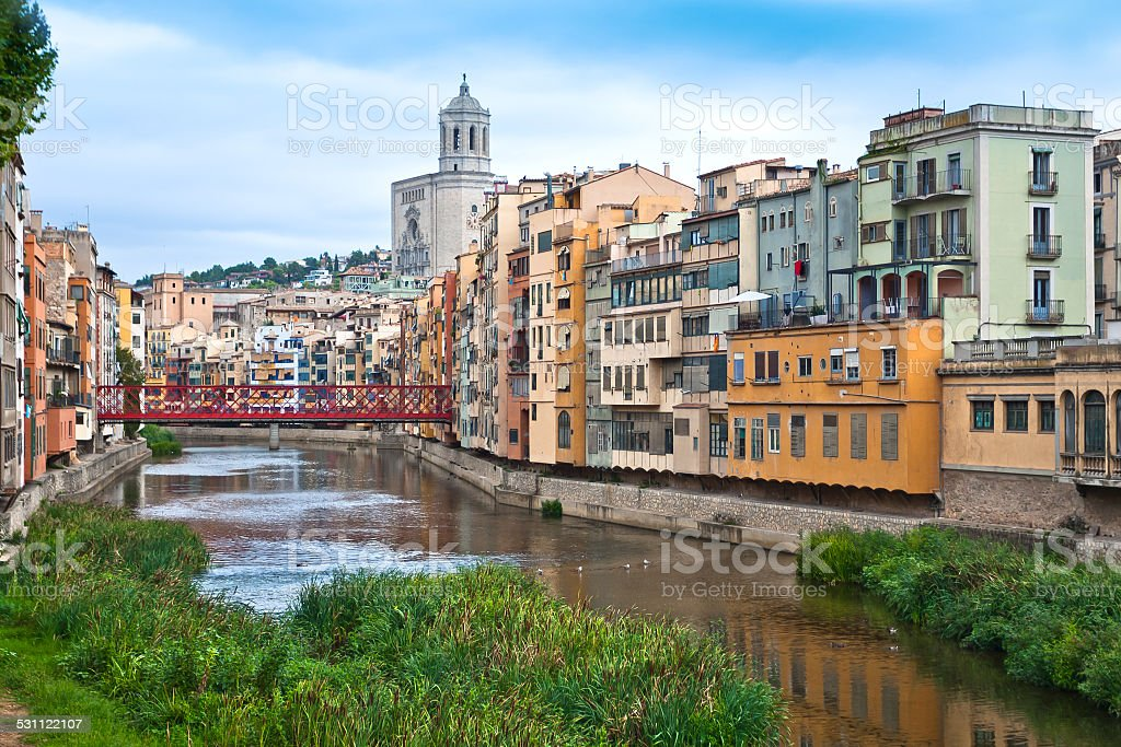 Cathedral Belltower in Girona, Spain stock photo