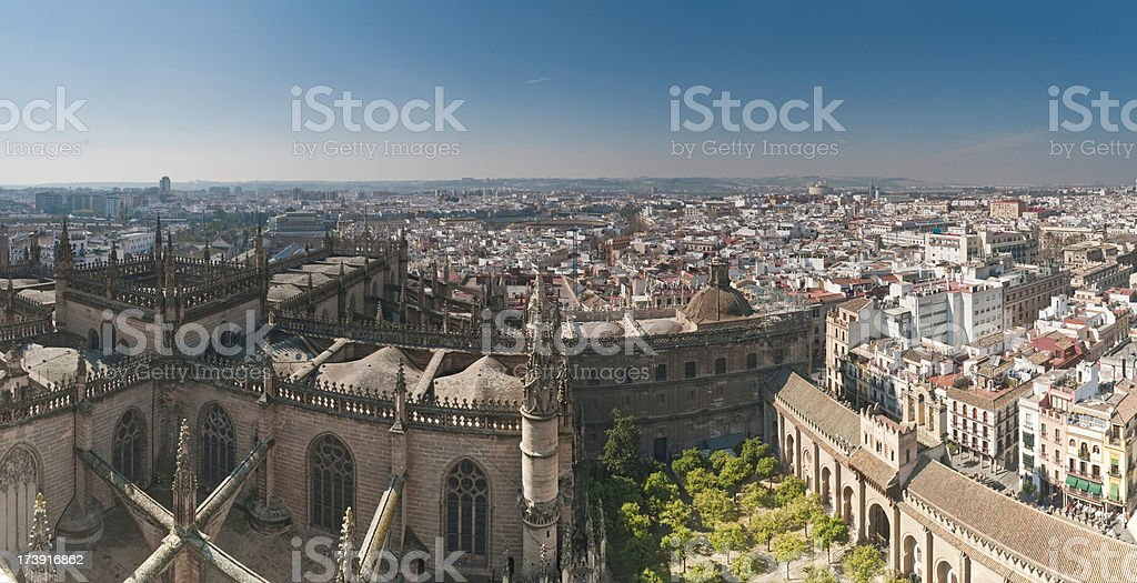 Cathedral cityscape Seville Spain stock photo