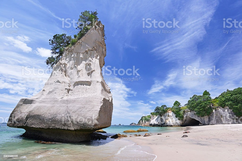 Cathedral Cove beach, New Zealand stock photo