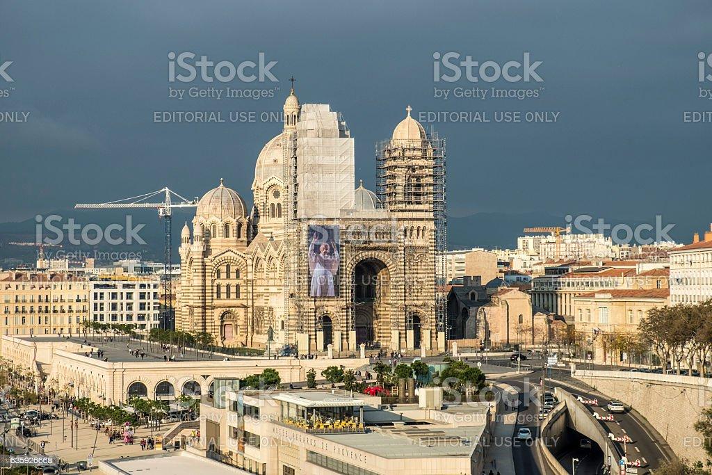 Cathedral de la Major in Marseilles stock photo