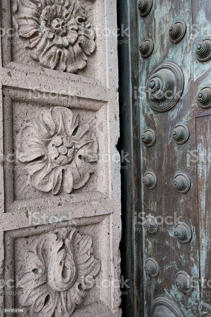 Cathedral Door and Masonry stock photo