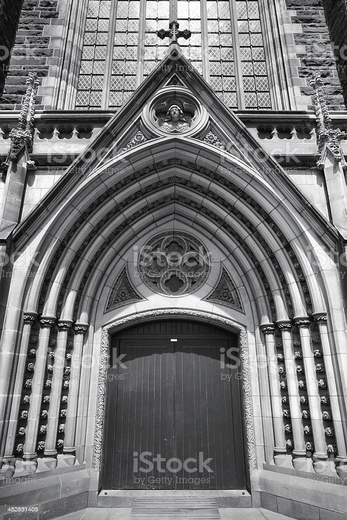 Cathedral door in Melbourne stock photo