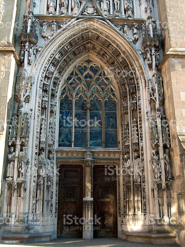 A cathedral door stock photo
