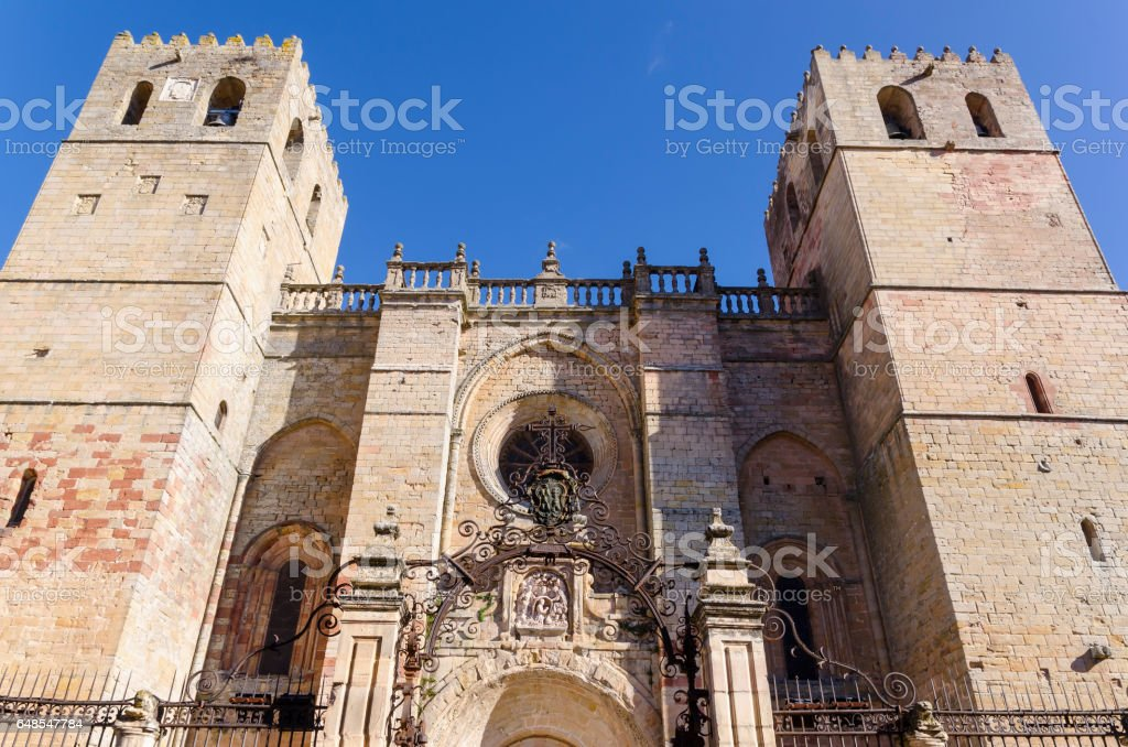 Cathedral entrance siguenza stock photo