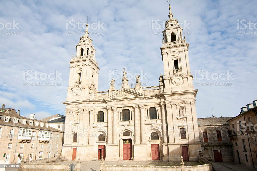 Cathedral facade in Lugo, Galicia, Spain stock photo