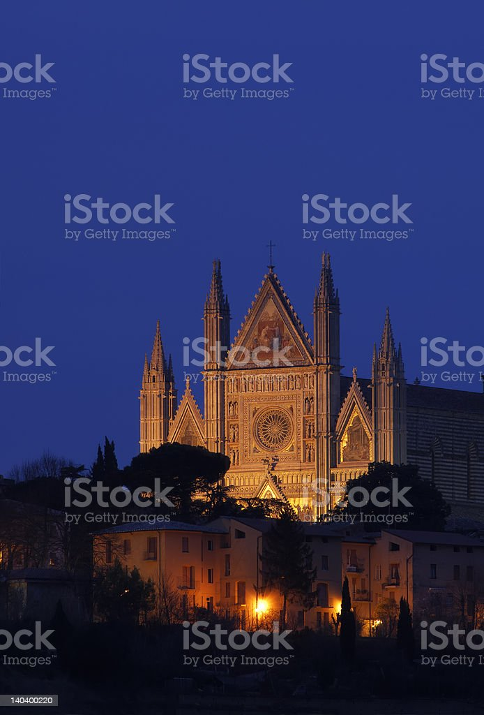 Cathedral facade in Orvieto royalty-free stock photo
