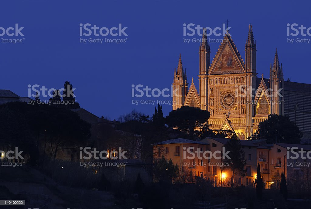 Cathedral facade in Orvieto stock photo