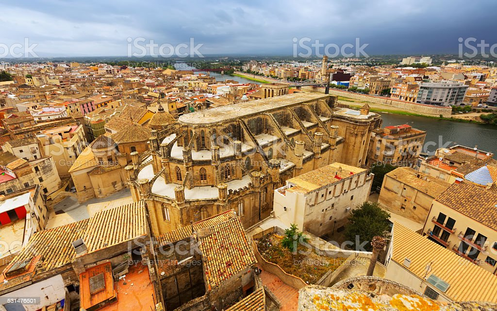 Cathedral from Suda castlein Tortosa stock photo