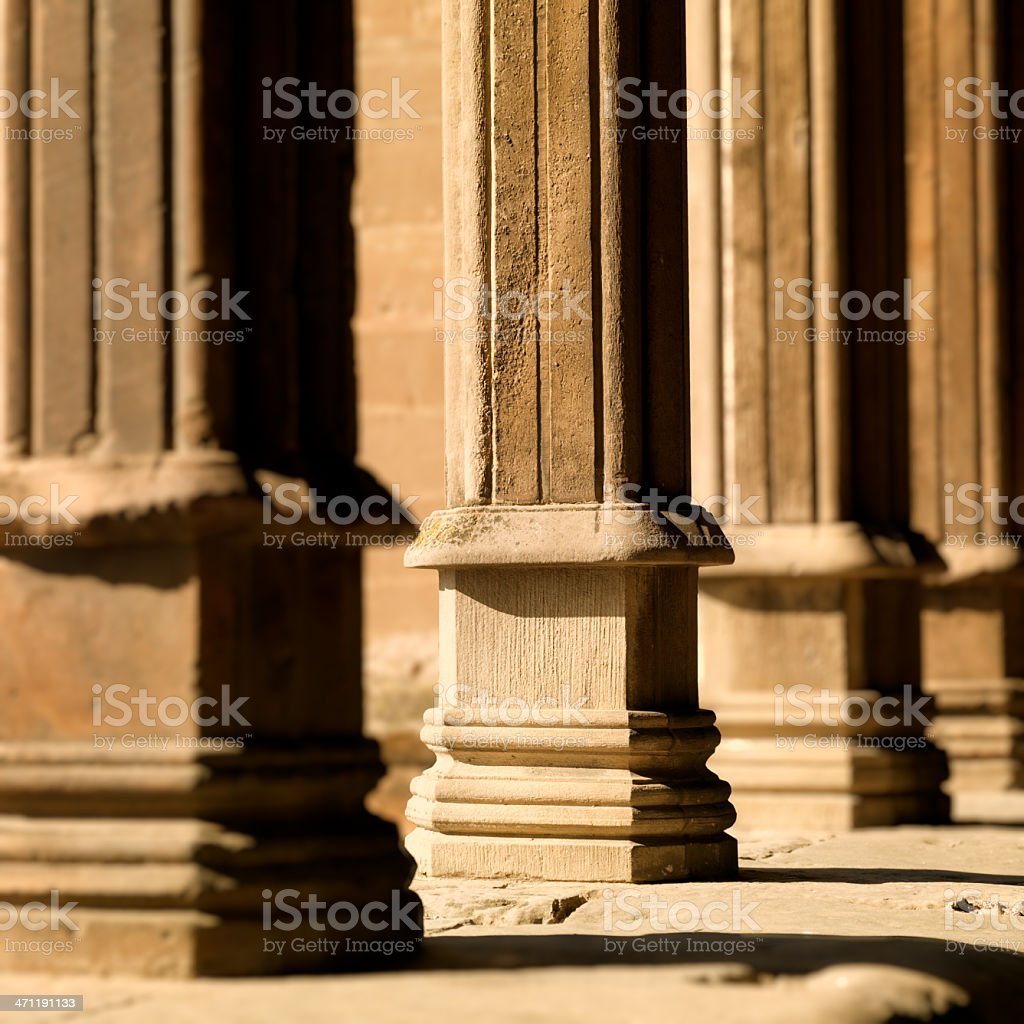 Cathedral Gothic Romanesque Columns stock photo