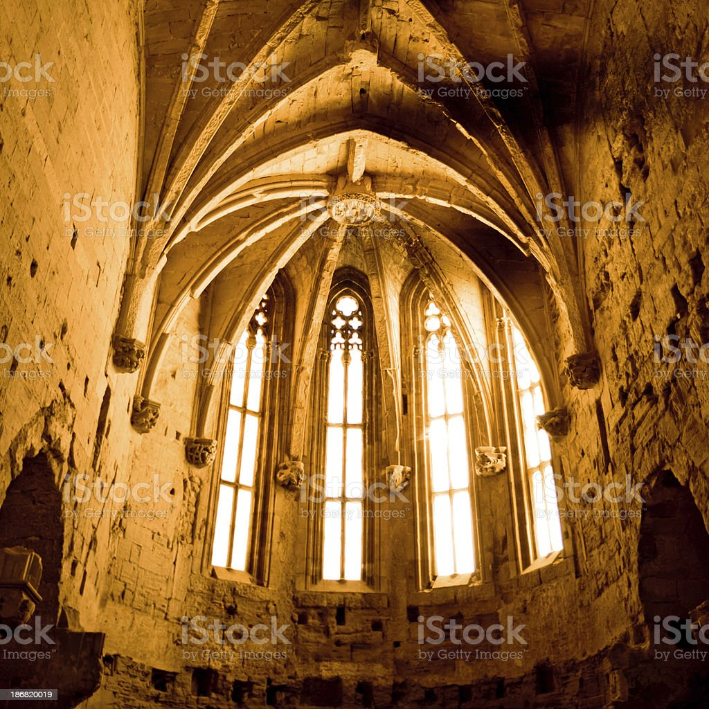 Cathedral Gothic Windows La Seu Vella  LLeida Lerida Spain stock photo