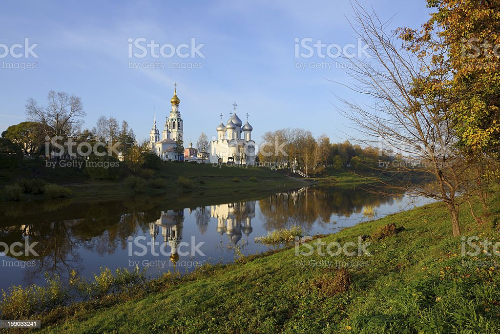 Cathedral hill in Russian city of Vologda on river bank royalty-free stock photo
