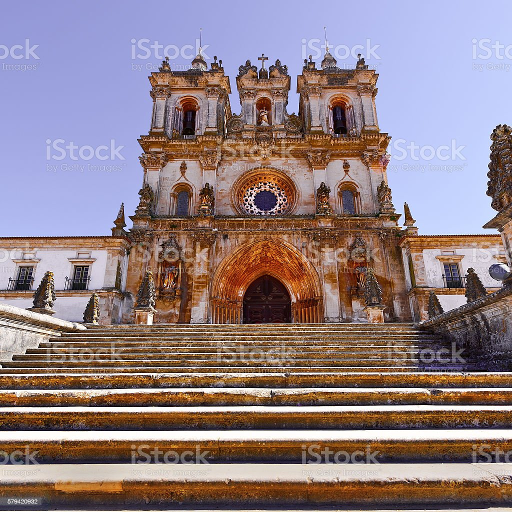 Cathedral in Alcobaca stock photo