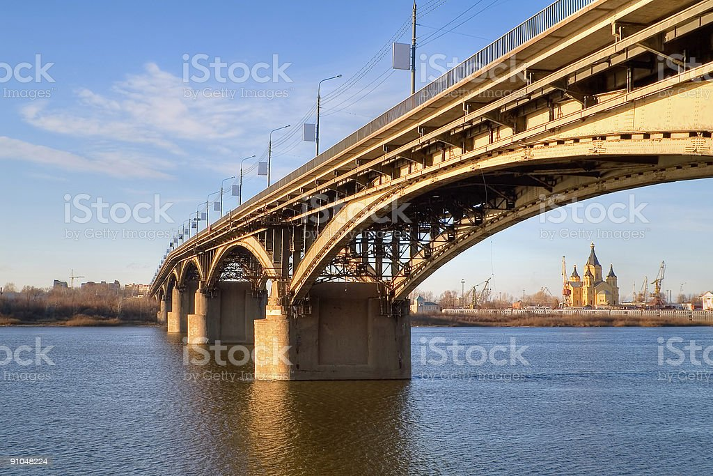 Cathedral In Arc Of Bridge stock photo