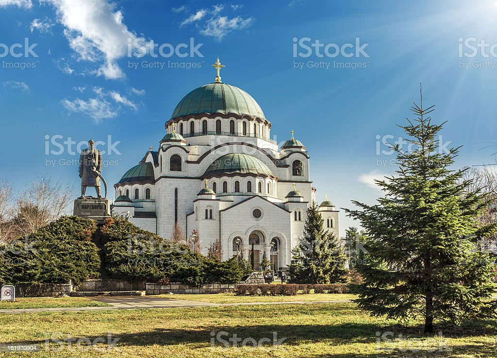 Cathedral in Belgrade, Serbia on a beautiful sunny day stock photo