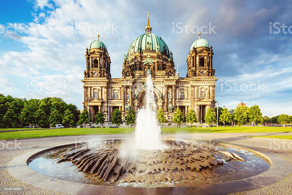 Cathedral in Berlin, Lustgarten Fountain Berlin Germany stock photo