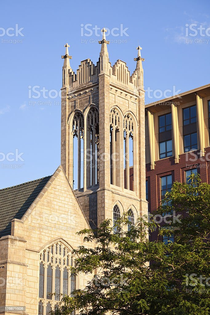 Cathedral in downtown of Madison stock photo