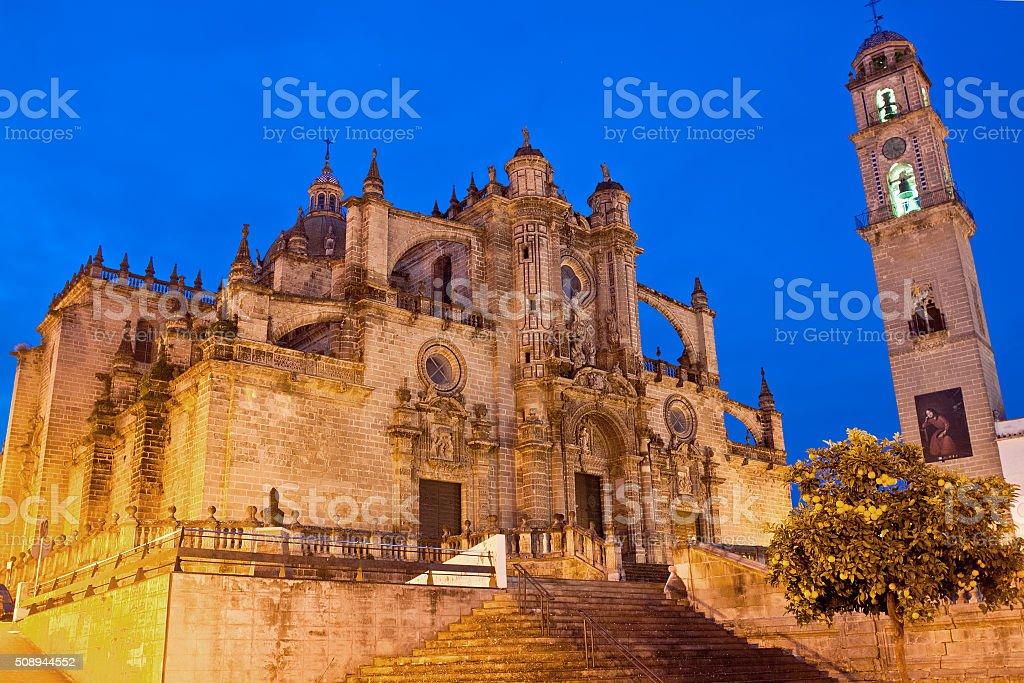 Cathedral in evening time. Jerez de la Frontera, Spain stock photo