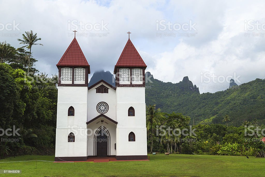 Cathedral in French Polynesia stock photo