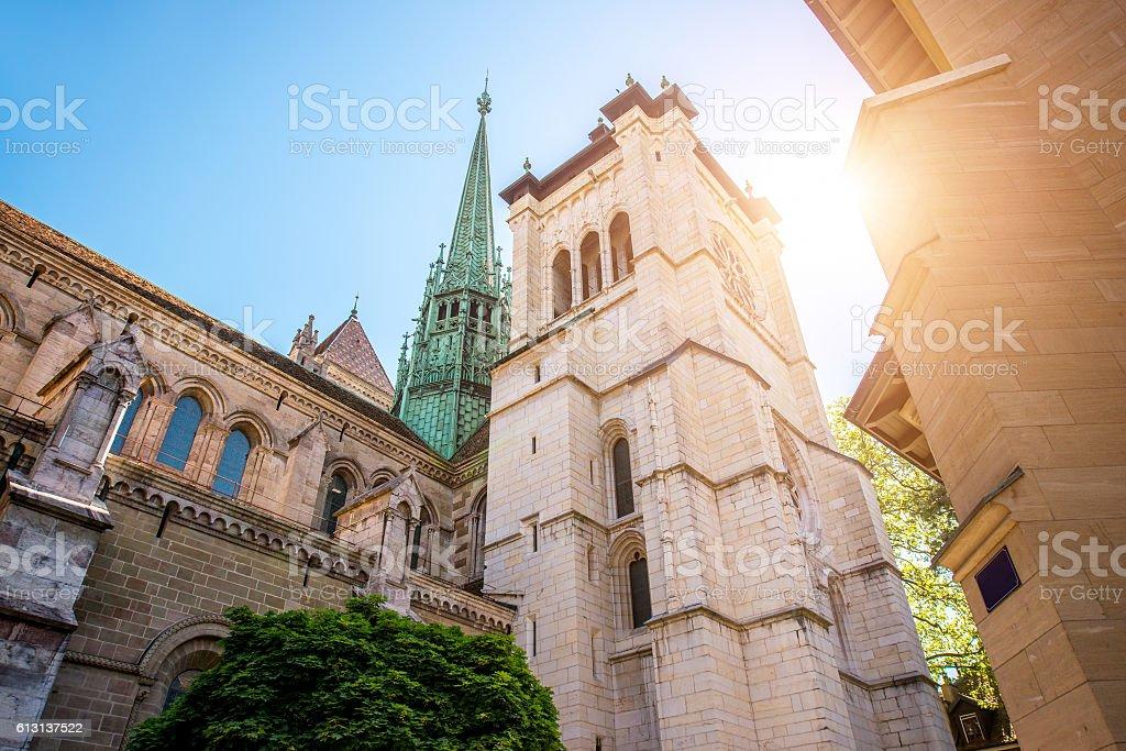 Cathedral in Geneva city stock photo
