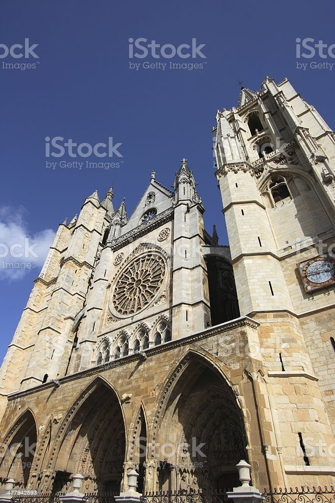 Cathedral in Leon stock photo