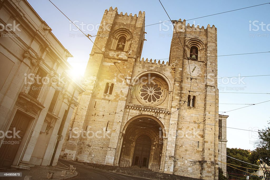 Sé Cathedral in Lisbon stock photo
