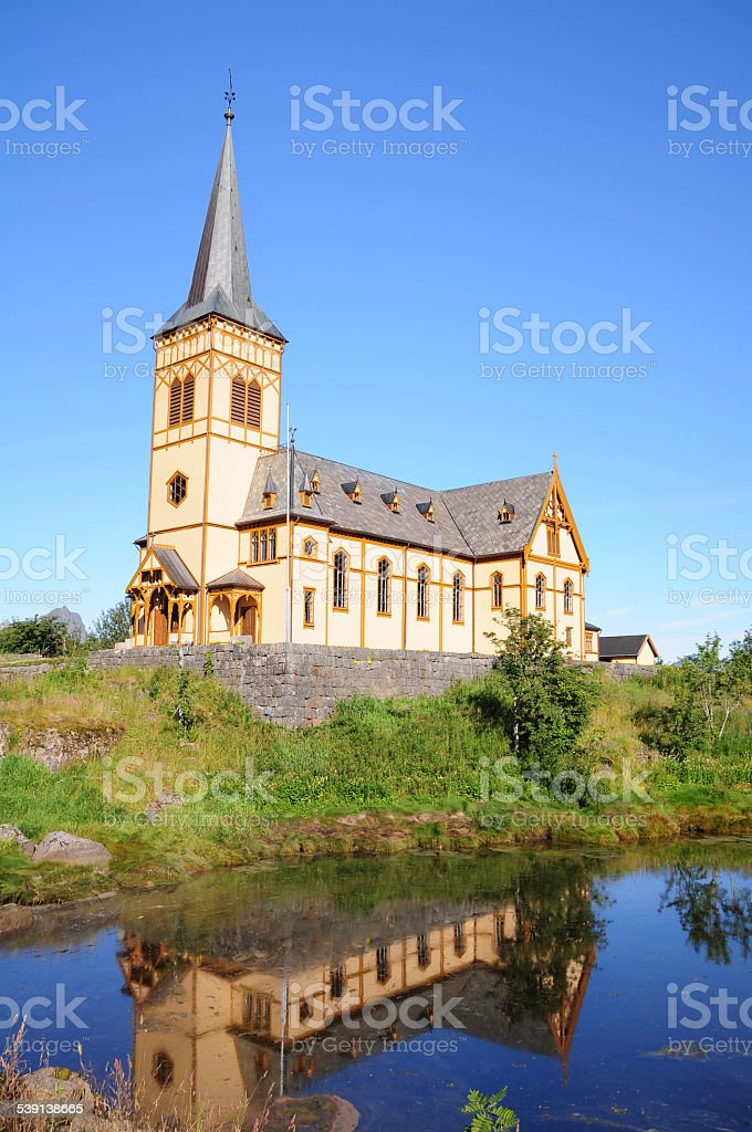 Cathedral in Lofoten, Norway stock photo