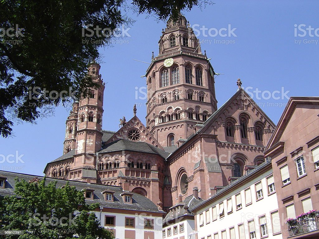 Cathedral in Mainz, Germany. stock photo