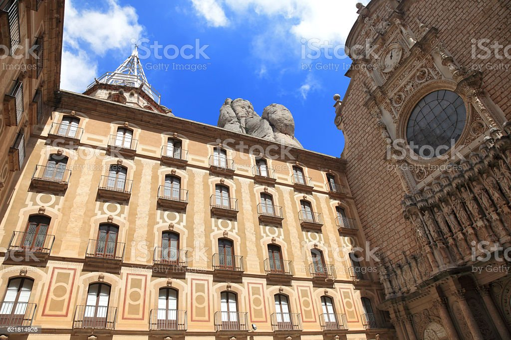 Cathedral in Montserrat stock photo