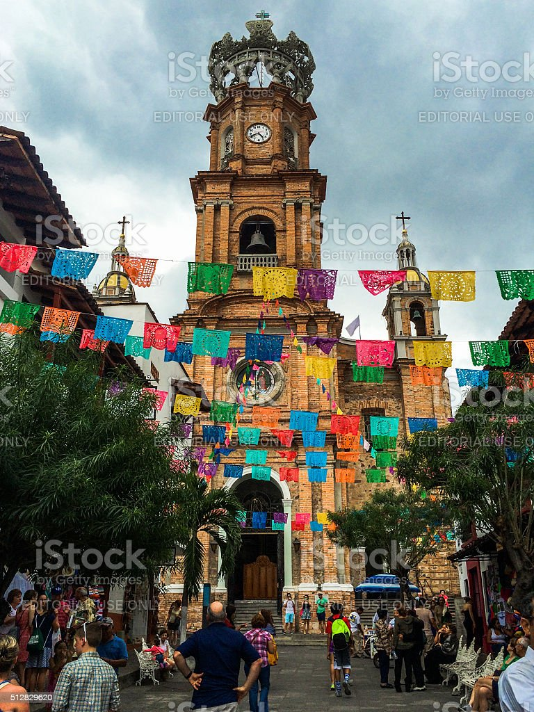 Cathedral in old Puerto Vallarta, Mexico stock photo