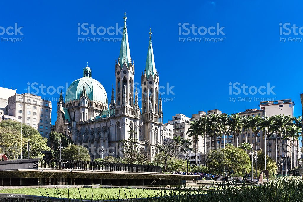 Sé Cathedral in Sao Paulo, Brazil stock photo
