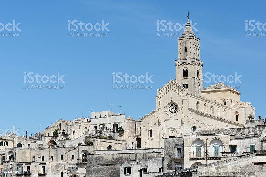 Cathedral in Sassi of Matera stock photo