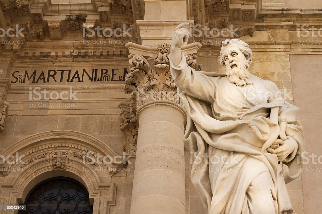 Cathedral in Siracusa, Sicily (Detail with Saint Paul), Italy stock photo