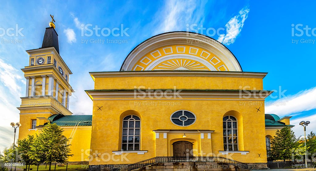 Cathedral  in the centre of Oulu, Finland. stock photo