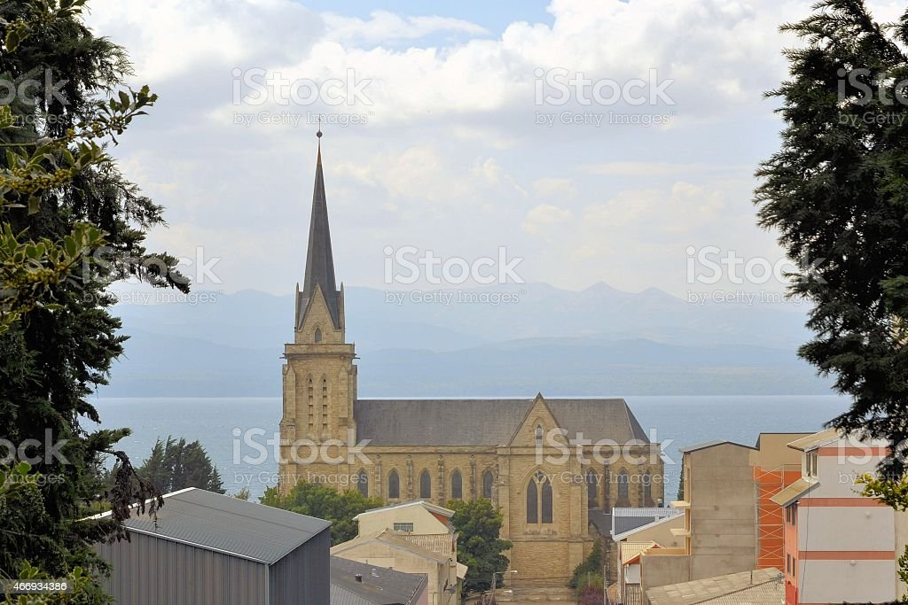 Cathedral in the city of Bariloche, Argentina stock photo