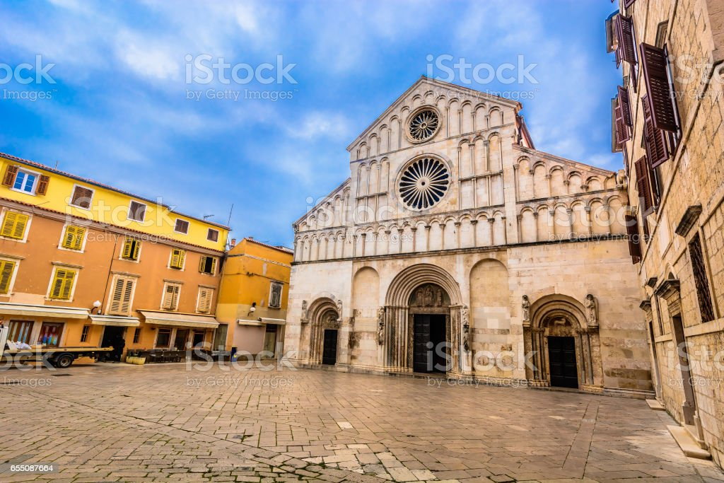 Cathedral in town Zadar, Croatia. stock photo