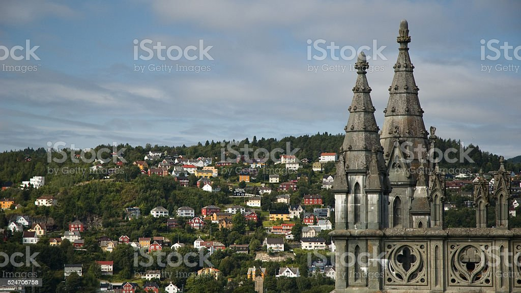 cathedral in Trondheim, Norway stock photo
