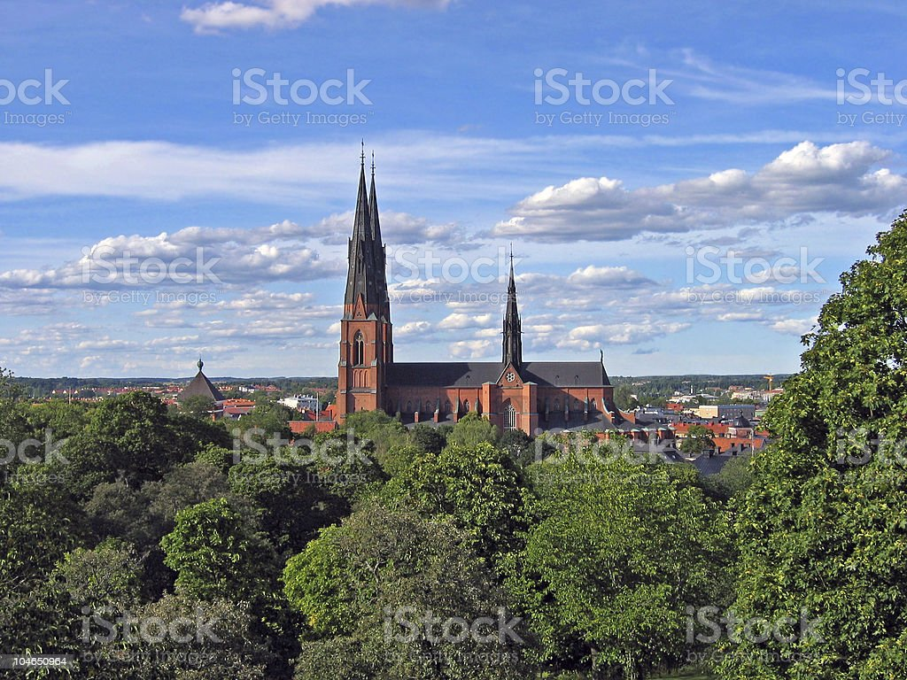 Cathedral in Uppsala, Sweden stock photo